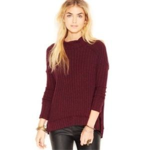Free People Clarissa Mock Neck Ribbed Sweater (S)